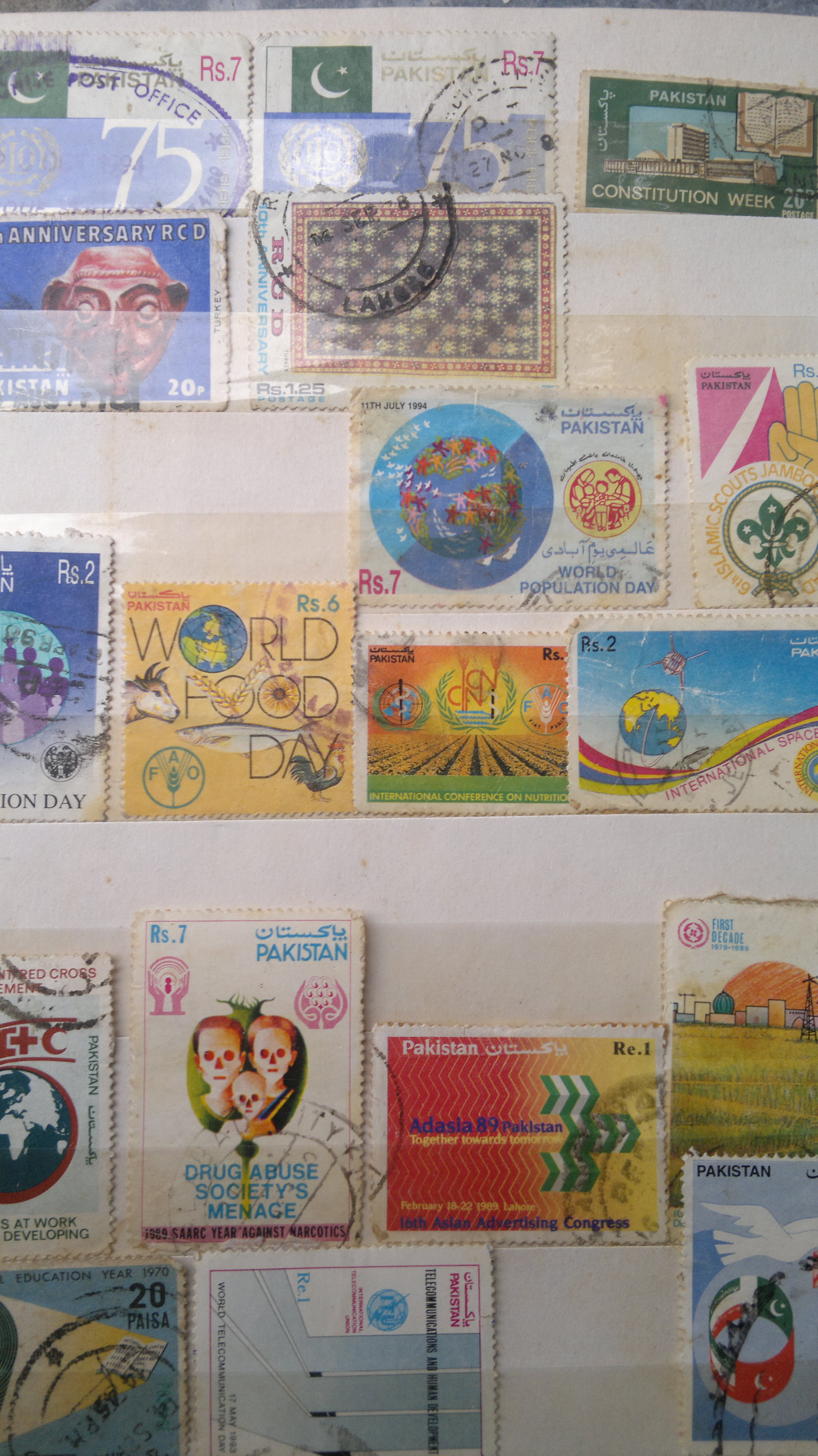 stamps featuring different international organizations and programs